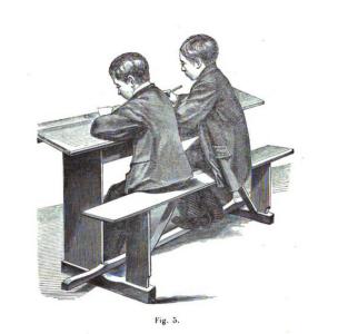 """Foto tratta da """"Le pupitre régulateur: histoire du banc d'école"""" di Buschman"""